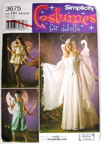 Simplicity 3675 pattern fairies fairy faerie costumes by Andrea Schewe sizes 6-12 .