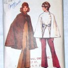 Vogue 9669 vintage 1971 pattern for capes with buttons and belts sizes 16-18