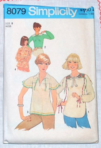 Simplicity 8079 vintage 1977 pattern for peasant style blouses with tassels. Size 8