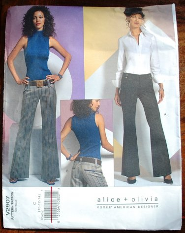 Vogue v2907 2907 Alice + Olivia pattern for low slung slacks pants size 10-14