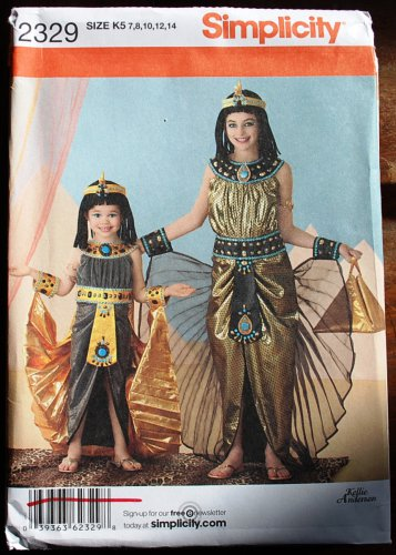 Simplicity 2329 pattern Egyptian Cleopatra costume for girls, sizes 7-14