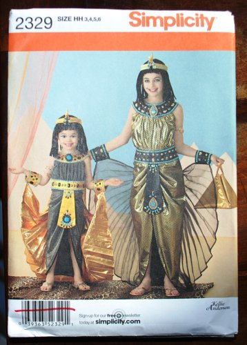 Simplicity 2329 pattern Egyptian Cleopatra costume for girls, sizes 3,4,5,6