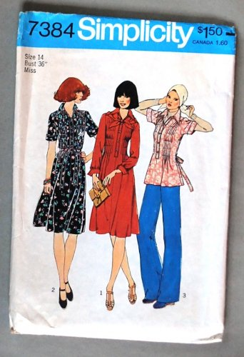 Simplicity 7384 vintage 1976 pleated dress pattern size 14