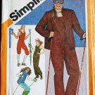 Simplicity 9785 vintage 1980 pattern quilted ski pants, snow pants, overalls, vest, jacket size 10