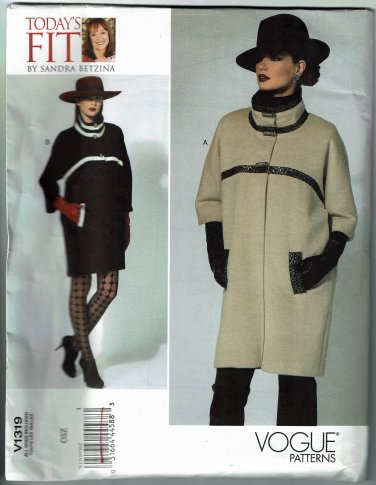 Vogue v1319 avant garde coat Today's Fit by Sandra Betzina includes sizes from 32-55 inch busts