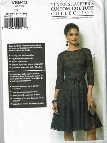 Vogue Pattern V8943 Claire Shaeffer's Custom Couture Collection dress sizers 8-16