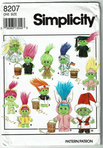 "Simplicity 8207 Troll doll clothes vintage 1992 sewing pattern for 6"" trolls"