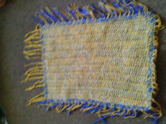 Crochet Beaded Blue,yellow & cream Rug