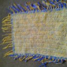 Crochet Beaded Blue,yellow & cream Rug