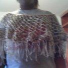Crochet Medium Brown & Cream Pancho