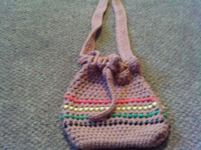 Crochet Medium Red,Yellow, Green  & Brown  Beaded handbag