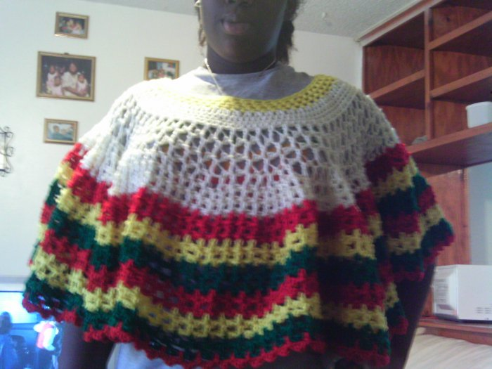 Crochet Large Red,Yellow & Green Pancho
