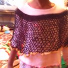 Crochet Small Black (Gold trimmings) Pancho