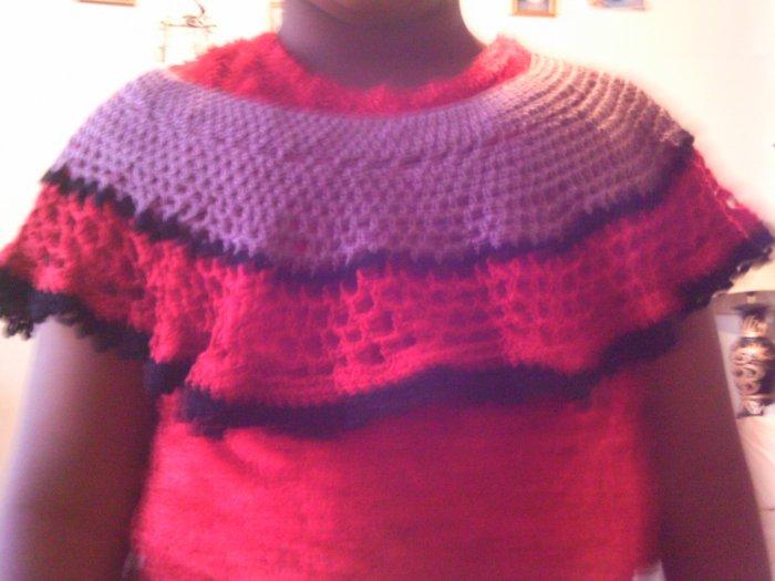 Crochet Medium Purple, Red & Black Pancho