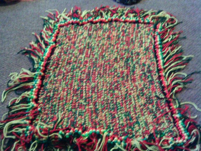 Crochet Medium Red,Yellow & Green Beaded Rug