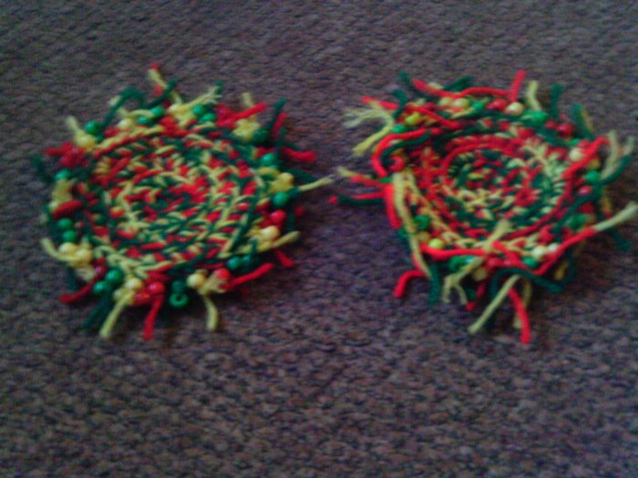 Crochet Red,Yellow & Green Coasters