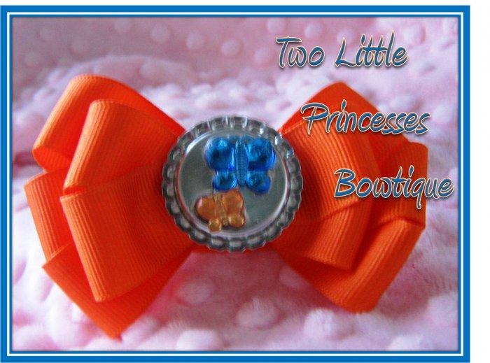 Orange & Blue Butterfly Bow