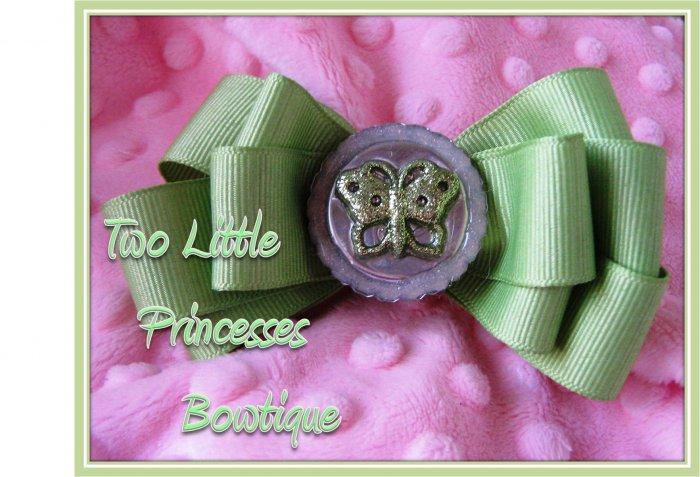 Pistachio Glitter Butterfly Bow