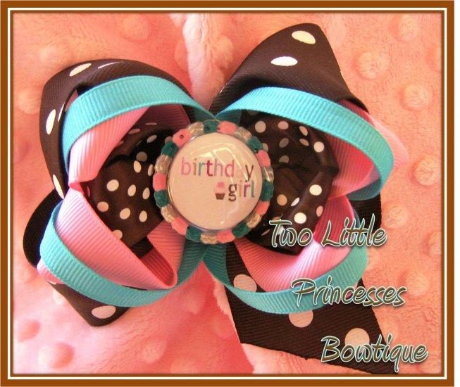 Chocolate Cupcake Birthday Girl Bow