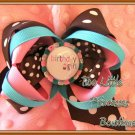 Chocolate Cupcake Birthday Girl Bow