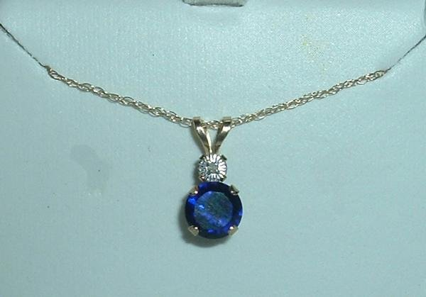 Solid 10k Sapphire & Genuine Diamond Necklace