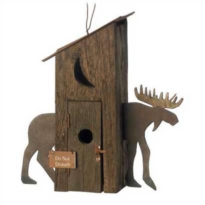 Rustic Outhouse Moon Cutout Elk Inspired Birdhouse bird House