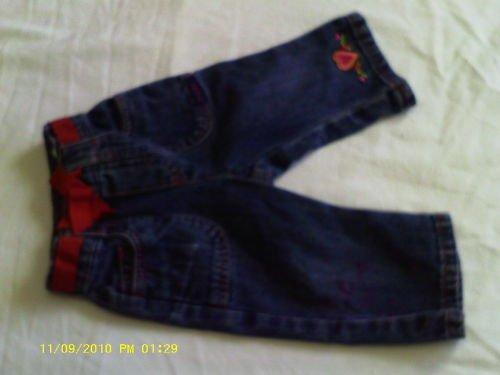 Baby girl blue jeam Sz 6/9 months w/ red ribbon belt