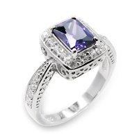 Emerald Amythyst CZ Ring Size 6