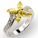 Yellow Topaz CZ Flower Ring Size 6