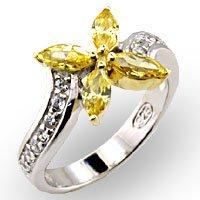 Yellow Topaz CZ Flower Ring Size 6