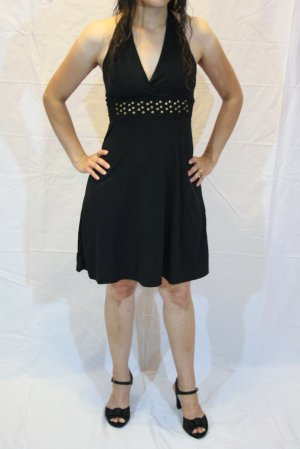 Solid Black Stud Halter Dress