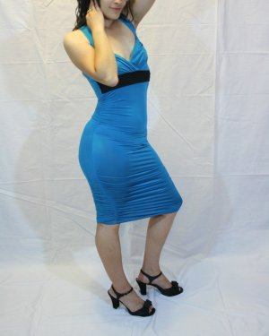 Trendy Fitted Solid Blue Dress