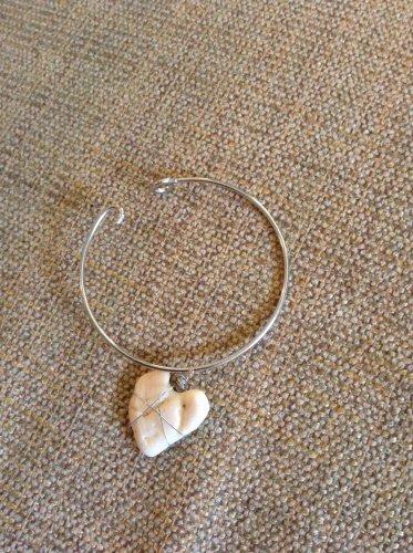 Real heart seashell bangle bracelet
