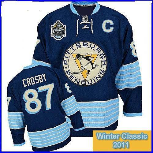 hockey JERSEY Pittsburgh Penguins #87 Sidney Crosby 2010-2011 winter classic BLUE color