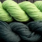 Wool sock yarn sport weight, apple green and pine green