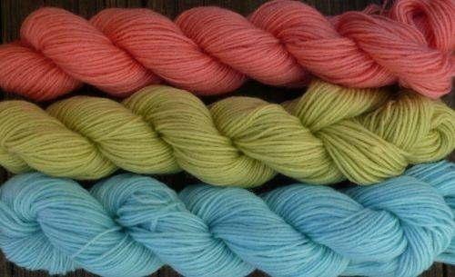 Wool sock yarn sport wt, peach lime & baby blue