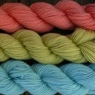Wool sock yarn sport wt, peach lime & baby blue