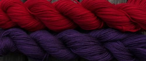 Wool sock yarn sport weight, red and violet