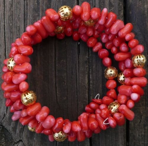Memory wire Bracelet coral & gold filled beads