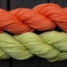 Wool sock yarn sport weight, tangerine & lime
