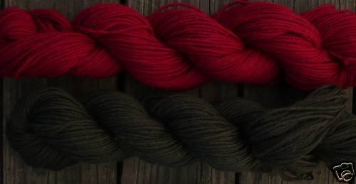 Wool sock yarn sport weight, burgundy & dark olive
