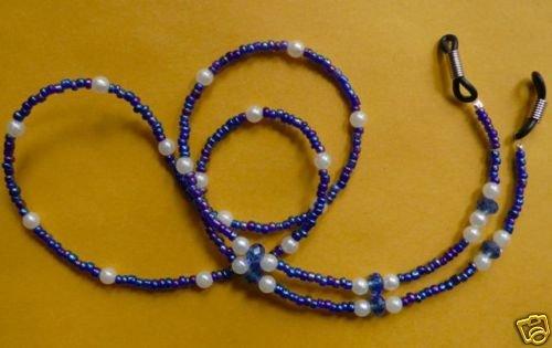 "Sunglasses & eyeglass holder , glass beads, 28"" blue"