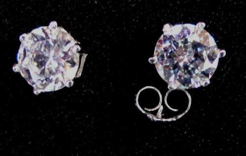 one pair 925 silver cz stud  earrings, 6 mm