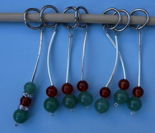Stitch marker, knitting 6+1  , stone