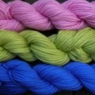 Pure wool yarn worsted wt , pink honeydew & royal blue