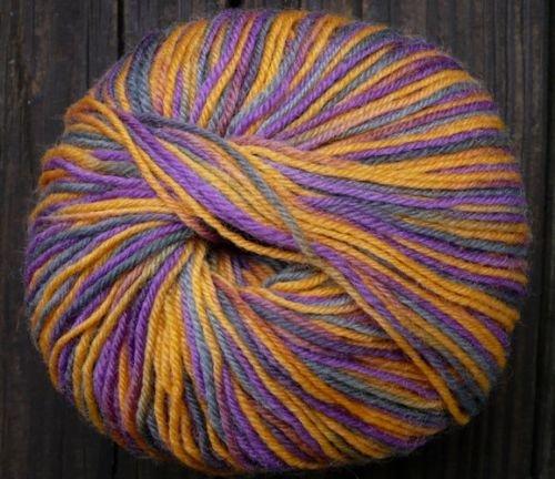 Pure wool yarn Fingering w violet gold ocher gray olive