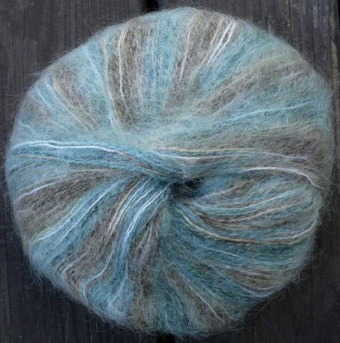 mohair acrylc lace wt yarn, green mocha beige 165 yards
