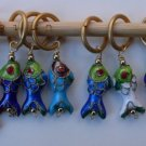 Stitch marker, knitting 6+1  Cloisonne beads, fish