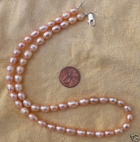 "Fresh water pearl, peach, 7 x 8mm,  15 "" string"