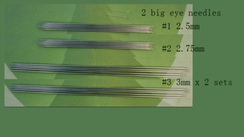 stainless steel knitting needle 4 sets + ,  US sz 1 + 2